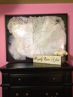 Wedding dress display using shadow box from Micheals.  In my dressing room/ guest room.