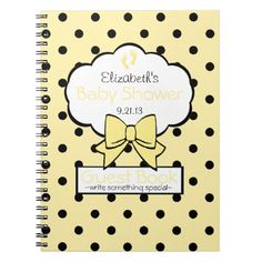 Yellow Polka Dot Baby Shower Guest Book- Journals