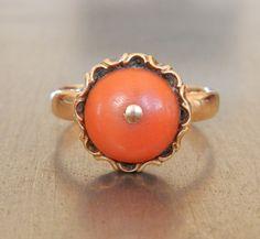 Antique Coral Ring. $485.00, via Etsy.
