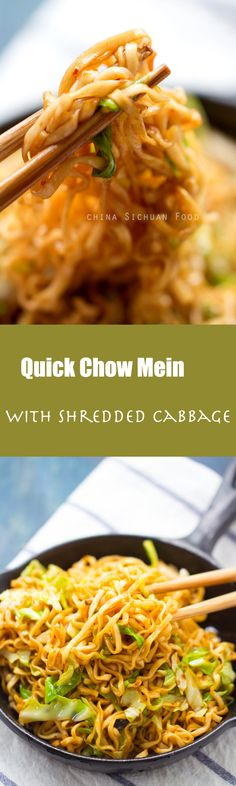 Quick #chowmein with shredded #cabbage
