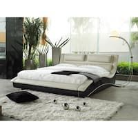 This King size Modern Cream Black Faux Leather Upholstered Platform Bed with Headboard is an artistic expression in contemporary furniture design. This attractive and charming bed provides both com.