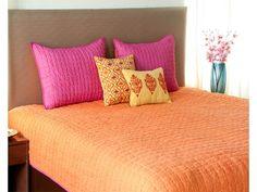 Kantha stitch Embroidered Orange / Pink Reversible Qulited Bedspread Bed Linens, Linen Bedding, Kantha Stitch, Quilted Bedspreads, Orange Pink, Bed Spreads, Decoration, Shopping, Furniture