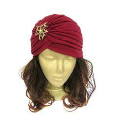 Turban Hat Burgundy Full Turban Head Wrap Ladies by curtainroad