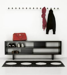 Furniture,Contemporary Wall Mount Coat Hanger Design Ideas With Beautiful White Wood Wall Mount Coat Hanger And Nice Black Hooks Also Gorgeous Black Wood Shelf Open Shoes Cabinet Plus Soft Black White Rug,Good Idea Furniture Wall Mount Coat Hangers
