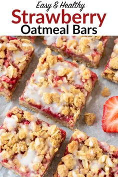 The easiest, best strawberry oatmeal bars with butter crumb topping. One bowl, simple ingredients, and 100% whole grain�perfect for a snack or dessert! #strawberry #breakfast #healthysnack