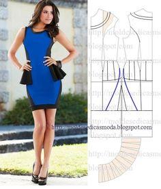 Blue and black dress, patterns instructions Diy Fashion, Ideias Fashion, Fashion Outfits, Fashion Design, Diy Dress, Peplum Dress, Diy Clothes, Clothes For Women, Dress Making Patterns