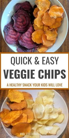 Veggie chips are a healthy snack you can make even easier with a mandoline slicer. These are kid friendly and are a great way to get your kids to eat more vegetables. Make your own baked beet chips, sweet potato chips, and parsnip chips from scratch. | Healthy Vegetarian Appetizers #healthysnack #beetchips #vegetables #kidfriendlyfood Healthy Summer Snacks, Easy Snacks, Healthy Recipes, Healthy Snacks Vegetables, Healthy Kids, Vegetable Snacks, Baked Vegetable Chips, Vegtable Chips, Best Veggies To Eat