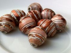 9 paper beads brown mix