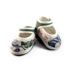 Floral Blue Green Rose Baby Sandals Spring Summer Lace by Hopphopp, $33.00