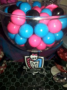 Monster High party.  Candy.  Pink, blue, black, white, Purple colors