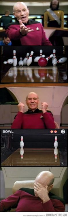 Funny pictures about Captain Picard Plays Bowling. Oh, and cool pics about Captain Picard Plays Bowling. Also, Captain Picard Plays Bowling photos. The Meta Picture, Star Wars, Geek Out, Memes, I Laughed, Nerdy, Laughter, Fangirl, Funny Pictures