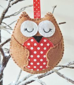 Christmas Owl Felt Decoration x1 on Etsy, $9.88