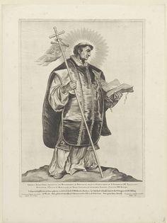 Cornelis Visscher (II) | H. Lebuinus van Deventer, Cornelis Visscher (II), Pieter Claesz. Soutman, unknown, 1650 | De heilige Lebuinus afgebeeld als een priester met tuniek, kazuifel en kruis. Deze prent maakt deel uit van een reeks Nederlandse heiligen.