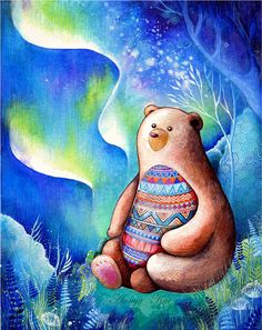 Spirit Bear - NEW Watercolor Fantasy Painting by Annya Kai - Nature Inspired…