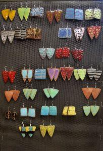 Enamel & Copper earrings by Kathy Watne