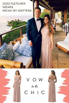 Bachelorette JoJo Fletcher turns heads as she walks down the aisle in Micah by Watters. This stunning bridesmaid dress (and many more!) is available for rent or purchase at Vow To Be Chic.