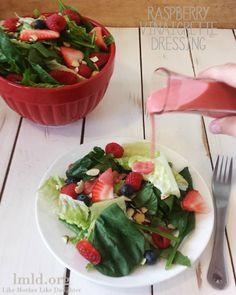 Enjoy a homemade raspberry vinaigrette dressing on a fresh salad! #lmldfood
