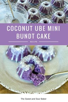 Coconut Ube Mini Bundt Cakes — The Sweet & Sour Baker It's probably been a hot second since I last p Ube Recipes, Cupcake Recipes, Dessert Recipes, Ube Cupcake Recipe, Ube Cake Roll Recipe, Taro Chiffon Cake Recipe, Ube Dessert Recipe, Mini Cakes, Cupcake Cakes