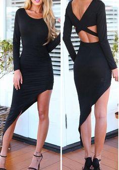 I Wear Red - Black Asymmetrical Dress, $36.00 (http://www.iwearred.com/black-asymmetrical-dress/)