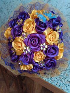 МК канзаши? Легко!!! | VK Nylon Flowers, Diy Bouquet, Wedding Bouquets, Fabric, Tejido, Tela, Wedding Brooch Bouquets, Bridal Bouquets, Wedding Bouquet