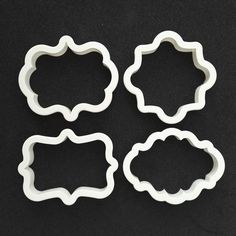 LUC DIY 4pcs Eco-Friendly Plastic Vintage Plaque Frame Cookie Cutter Set Biscuit Mold Cutters for Cake Decorating
