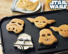 Make Star Wars pancakes!!  Grandma bought these for us. Making the pancakes in the shapes isn't as easy as one would have thought!