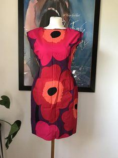 Vintage Marimekko Dress / Pink Red Unikko Flowers / EUR 36 - Small / Custom made, Finland Marimekko Dress, Dress Making, Pink Dress, Homemade, Classic, Flowers, Red, Pattern, Culture