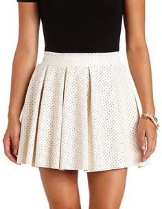 Perforated Faux Leather Pleated Skater Skirt #CharlotteRusse #CRfashionista #skaterskirt