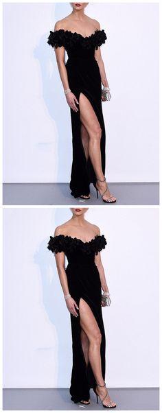 461de814a978 Karlie Kloss Black Off Shoulder Dresses, Long Side Slit Prom Dresses