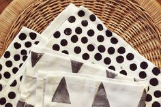 Add a personal touch to basic cloth napkins with hand-cut stamps.