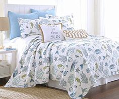 Byron Bay Exotic Seaglass Colorful Blues and Green Tropical White Quilt Set.