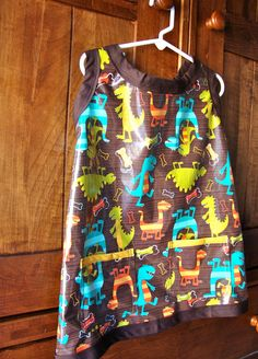 Dino Art Smock/Apron in Laminated Cotton