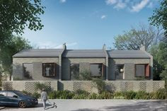 Design for multiple modern homes in Enfield, London. Brick Architecture, Residential Architecture, Enfield House, Brick Projects, Timber Cladding, Social Housing, London House, Small Buildings, Arquitetura