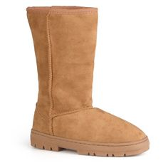 Stay warm in style with a pair of microsuede faux shearling boots. The women's boots feature mid-calf styling and area available in a variety of fashionable color options.