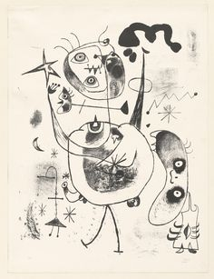 In 1944, Miró completed a group of fifty black-and-white lithographs known as the Barcelona Series. Named for his hometown, where he found refuge after escaping from occupied Paris, the series is populated by faceless shadows, sharp-fanged hybrids, and wide-eyed forms with raised arms. Although known for its playful biomorphic figures, Miró's work had taken on an increasingly political tone following the outbreak of the Spanish Civil War, as his support for the Republican cause and his…