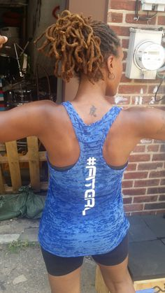 Jenelle is flexin' and stylin' in her Shine Athletica #Fitgirl Burnout Racerback Fitness Tank Top! Jenelle is a personal trainer for her own company Modelthat fitness,  mother, wife, and also has her own blog! Check her out at http://www.jenellethemodel.com/#!
