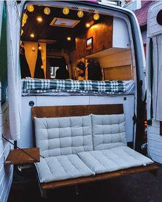 Couple S Van Life With A Tailgate Loveseat On Their Diy Vw Crafter Conversion Couple S Van Life With&; Couple S Van Life With A Tailgate Loveseat On Their Diy Vw Crafter Conversion Couple S Van Life With&; Cargo Van Conversion, Van Conversion Interior, Camper Van Conversion Diy, Sprinter Camper Conversion, Sprinter Motorhome, Vw Camper Conversions, Trailers Camping, Camping Hacks, Travel Trailers