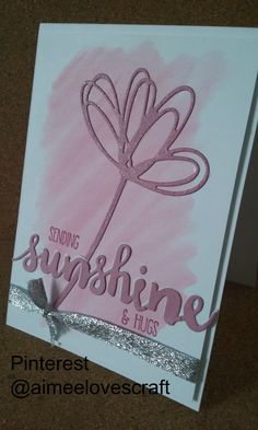 Card designed made using Sweet Sugarplum from the 2016-2018 Stampin Up in colours and the Sunshine sayings bundle. The flower has been glittered using wink of stella and the ribbon is from the new Stampin Up Autumn Winter catalogue and comes in a duo of silver and sweet sugarplum. @aimeelovescraft