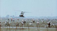 Hubschrauber über den Wiesen von Brockdorf 1981