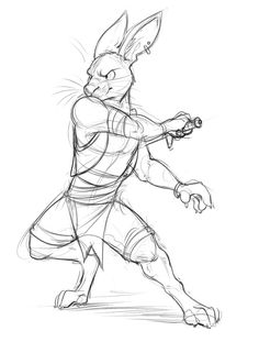 Rabbit with a Sword by Temiree.deviantart.com on @DeviantArt I've been seeing some pretty nifty drawings of hares and rabbits recently, so lets just say I felt inspired to make one of my own~  #action #anthro #anthropomorphic #character #design #digital #fighting #hare #pose #rabbit #sketch #stance #sword #weapon #art