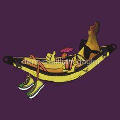 banana hammock - T-Shirts & Hoodies by dennis william gaylor, custom illustrated posters, prints, tees. Unique bespoke designs by dennis william gaylor . Custom Tees, Bespoke Design, Hammock, Posters, Hoodies, Unique, Illustration, Prints, T Shirt