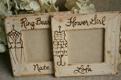 Wedding gifts for flower girls & ring bearers. Cute wooden photo frames for that reminder of their special help on your wedding day. #flowergirlgift #ringbearergift