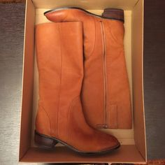 Cole Haan boots Size 10 Cole Haan boots never worn! Leather. Tan. Cole Haan Shoes Over the Knee Boots