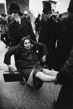 now this is England, divvies  Don McCullin. Anti-nuclear weapon demonstration, Aldermaston, England, Early 1960s.