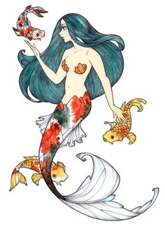Koi mermaid by Maryanneleslie.deviantart.com on @DeviantArt