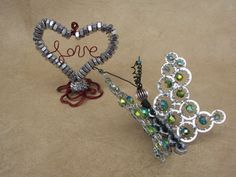 Nuts and Bolts Art.Heart Ornament.Butterfly Ornament.Car Rear View Mirror Charm.Car Accessory. on Etsy, $35.00