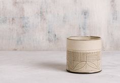 Ceramic Espresso Cup  white  Cup with stripes and by FreeFolding
