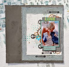 Layout Tutorial: Love That Little Man Mixed Media Layout by Denise van Deventer Blog Layout, Distress Oxide Ink, Broken China, Walnut Stain, Project Yourself, Little Man, Pattern Paper, Card Stock, Stencils