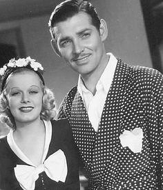 """vintagegif-hottub: """"Jean Harlow with Clark Gable…,1930s """""""