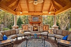 Incredible outdoor patio. #fireplace